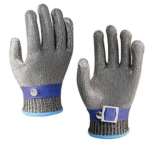 ZYJ Wire Cut-Proof Handschoenen Ademend Anti-Snijden Hand-Snijden Anti-Mes Snijhandschoenen Slacht Vlees Killing Vis Metaal RVS IJzeren Handschoenen 9.4in*3.5in