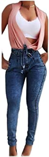 Mogogo Womens High Waisted Tassel Denim Slim Casual Belt Tapered Jean