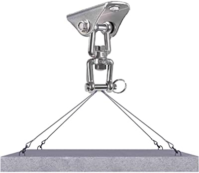 Freely Permanent Antirust Stainless Steel Heavy Duty Swing Hanger, 1000 LB Capacity, 2 Screws for Wooden and 2 Expansion Bolts for Concrete, Yoga Hammock Chair Sandbag Swing Sets, 360° Swing