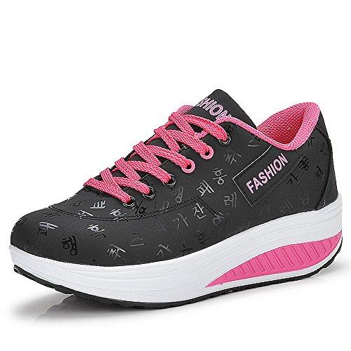 QZBAOSHU Donne Sneaker Dimagrante Passeggio Scarpe Fitness 1-Nero 40 EU/Etichetta 41