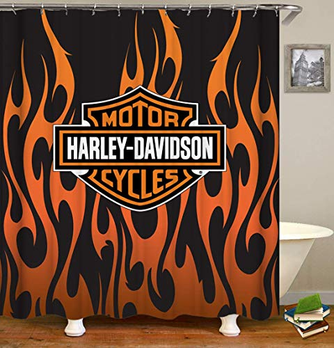 changchuan Bathroom Shower Curtain Harley Davidson Motor Cycles Magic Orange Fire Flame Black Backgro& Decor with Hooks Waterproof Polyester Fabric Modern Fashion Sports Science Fiction 72x72 Inch