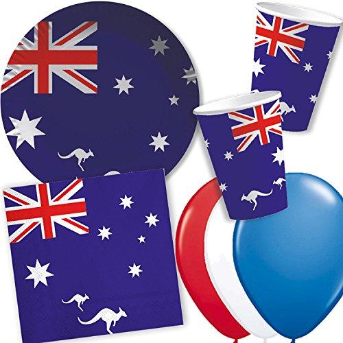 DH-Konzept/CARPETA 37-TLG. Party-Set * AUSTRALIEN * mit Pappteller + Servietten + Pappbecher + Luftballons für Mottoparty | Länderparty Einweg Deko