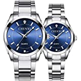 Couple Watches Classic Golden Stainless Steel Watch His and Hers Waterproof Quartz Watch(Blue)