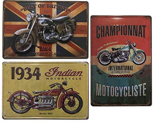 Placas Decorativas Metálicas de Motos |. Set de 3 Chapas Vintage | Decoración Retro de Motos para pared de Salón, Bar, Taller, Oficina | Tamaño 20x30.