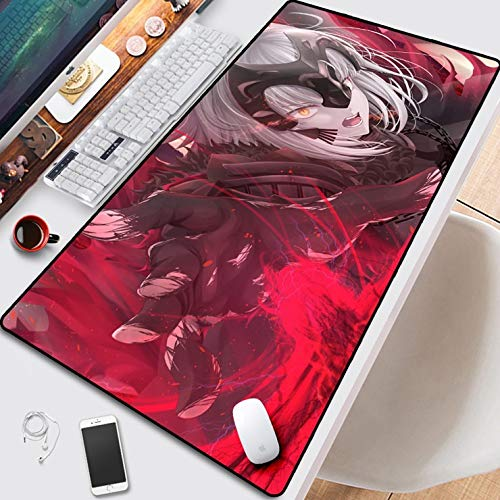 DMWSD Fate/Grand Order Jeanne D'Arc Alter La Grondement Du Haine Professional Gaming Mouse Pad Table Mat Game Cartoon Characters Oversized Seam Anti-Skid for Desk, Laptop, PC Peripherals