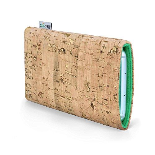 Stilbag maßgeschneiderte Korkhülle VIGO   Farbe: natur-gold-mint   Smartphone-Tasche aus Kork   Handy Schutzhülle   Handytasche Made in Germany