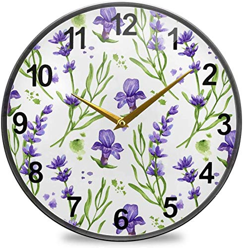 Fairy Flowers Bathroom Clock Violet Lavender Wall Clock 12 Inch Non-Ticking Silent Clocks for Living Room Decor
