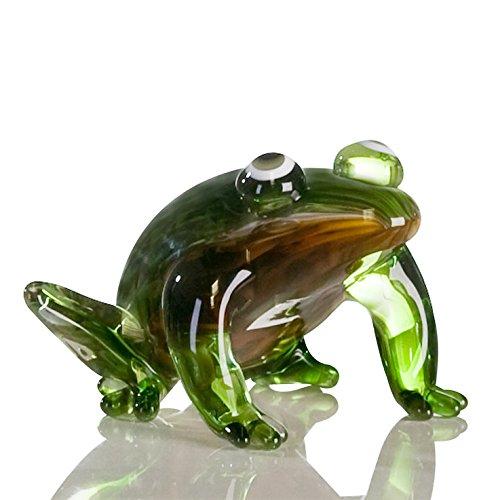 Casablanca Sculpture en verre Grenouille Marron/vert Lot de 2 L.12 5 cm H.10 cm