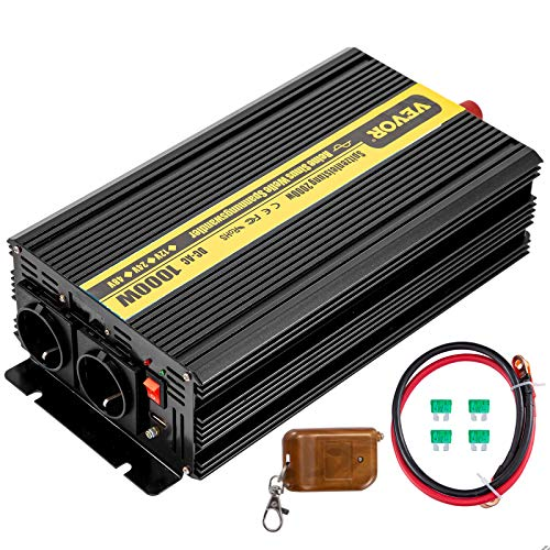 VEVOR 230V Spannungswandler Wechselrichter, 1000W Reiner Sinuswellen Wechselrichter, ZPX-1000W 12V DC Pure Sine Wave Power Reiner Sinus-Wechselrichter, Fernbedienung mit Kabel kein Bildschirm