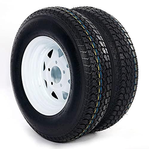 Set of 2 Trailer Tire + Rim 13' White Spoke Trailer Wheel With bias ST175/80D13 Tire Mounted (5x4.5)...