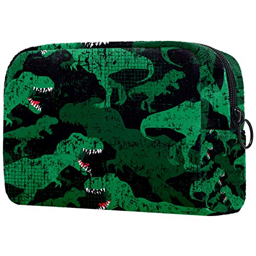 Bolsa de maquillaje para mujer, organizador de cosméticos de viaje, dinosaurios, camuflaje, militar, con cremallera