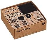 Rico Design Stempel-Set Geburtstag - Holzstempel mit Stempelkissen zum Basteln für Kinder - 9 Motive - Stempel aus Holz DIY -