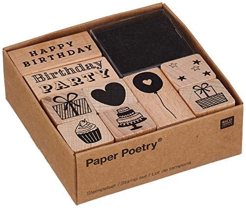 Rico Design Stempel-Set Geburtstag - Holzstempel mit Stempelkissen zum Basteln für Kinder - 9 Motive - Stempel aus Holz DIY