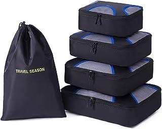 Belsmi 5 Set Packing Cubes - Waterproof Travel Luggage Organizer with Laundry Bag (Black)