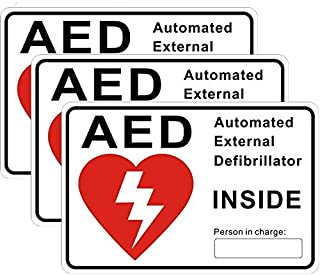 "Outdoor/Indoor (3 Pack) 6"" x 4"" AED Automated External Defibrillator Inside Window Door Wall Medical Safety Warning Alert Sticker Decals - Back Self Adhesive Vinyl"