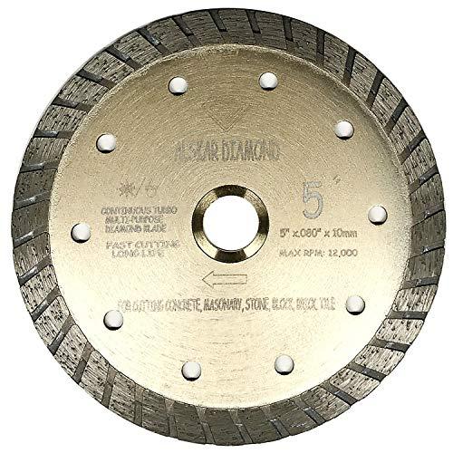ALSKAR DIAMOND ADLSC 5 inch Dry or Wet Cutting General Purpose Continuous Turbo Power Saw Diamond Blades for Concrete Masonry Brick Stone (5
