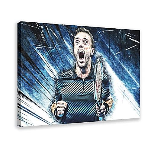 Poster su tela con atleta di tennis Roberto Bautista Agut Sports, decorazione da parete per soggiorno, camera da letto, cornice: 60 x 90 cm