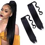 2Pieces 24Inch Long Noir Droit Queue De Cheval Titulaire Extension De Cheveux Wrap Around Extensions De Queue De Cheval Synthétique Clip en queue De Cheval Extensions de Cheveux Postiche Pour Femmes