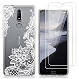 crisnat Case for Nokia 2.4, White Flower Soft TPU Gel