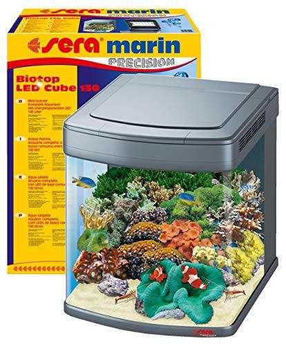 sera marin Biotop LED Cube 130 ein 130l Meerwasser Aquarium Komplettset - Plug & Play - LED Beleuchtung, Eiweißabschäumer, Regelheizer & 4-Kammer Innenfilter, gebogenes Glas, Maße (BxHxT) 51x62,6x58cm