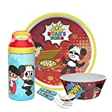 Zak Designs Ryan's World Ryan and Combo Panda Dinnerware 5 Piece Set Includes Plate, Bowl, Water Bottle, and Utensil Tableware, Non-BPA Made of Durable Material and Perfect for Kids