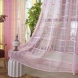 BBZZ Cortinas de gasa Jacquard transparente con ojales Cortinas de estilo simple y moderno, suave, transpirable, cortina transparente para dormitorio 2er Set para ventanas grandes -75615Z0X8U