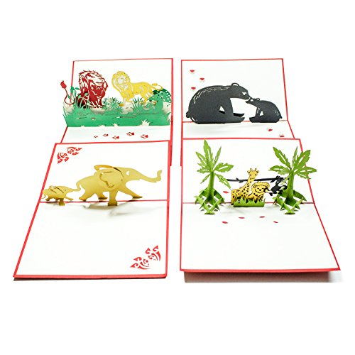 Pop Up Cards - Set of 4 3D Pop-UP Birthday, Greeting or Special Occasion Cards Sets - Jungle Animals (4er Pack-Mischpackung)