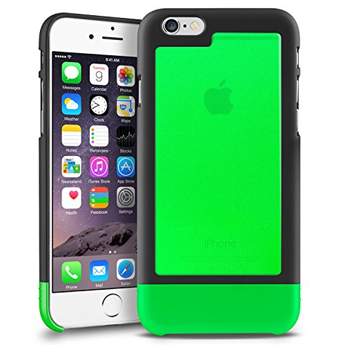 INSTEN TriTone Slim Hard Case Skin Cover with Fingerprint Free for Apple iPhone 6 - Retail Packaging - Black/Green