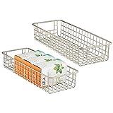 mDesign Set da 2 porta oggetti ideali come cestini per il bagno – Cestino portaoggetti versatile e multiuso – argento opaco