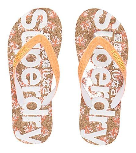 Superdry Printed Flip Flop, Chanclas Mujer, Multicolore (Cork/Fluro Coral Palm PrintWVG), 40.5 EU