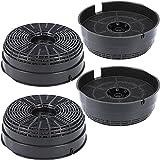 4 filtros de carbón activo de 142 mm de diámetro para campana extractora, adecuados como alternativa a los filtros de carbón 484000008782, para campana extractora de Bauknecht