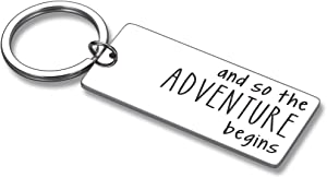 New Journey Keychain Retirement Moving Going Away Graduation Gifts for College Friends Coworkers New Job Home Life Wedding Divorce Gifts The Adventure Begins Inspirational Traveler Key Chain Him Her