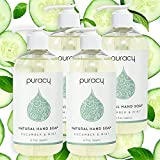 Puracy Natural Liquid Hand Soap, Cucumber & Mint, Sulfate-Free Gel Hand Wash, 12 Ounce (4-Pack)