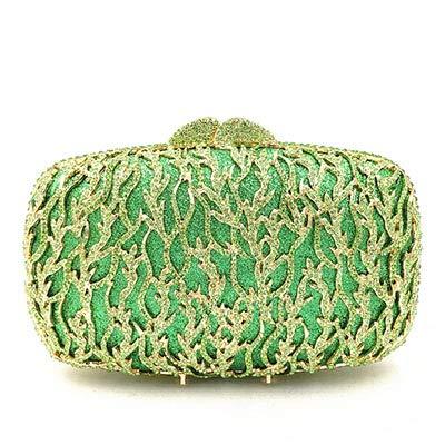 Mdsfe grün/pink Damen Clutch kleine Geldbörse Taschen Metall Diamanten Kette Schulter Abendtaschen Lady Kleid Hochzeit Dinner Party Handtaschen - Farbe wie abgebildet, 18x6x12