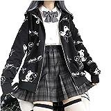 Y2k Clothes Aesthetic Chaqueta Kawaii Sudaderas con Capucha Mariposa Printing Sudaderas 90s Vintage Ropa Harajuku Streetwear Gothic Punk Top (A-Black,L,L)