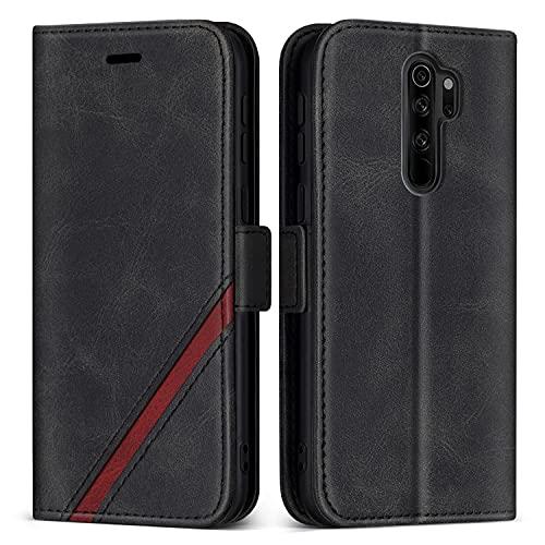 KKEIKO Hülle für Xiaomi Redmi Note 8 Pro, PU Leder Magnet Schutzhülle mit Kartenfächer & Ständer, Stoßfest Brieftasche Klapphülle für Xiaomi Redmi Note 8 Pro, Schwarz