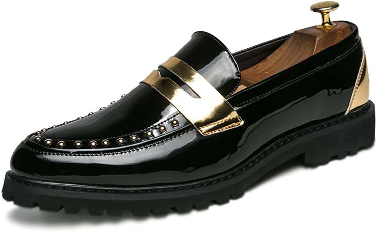 CHENDX Sautope, Moda da Uomo personalità Oxford Casual Comoda Rivetto Slip On Sautope Formali in Vernice (Coloree   Nero, Dimensione   40 EU)