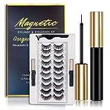Magnetic Eyelashes and Eyeliner Set- 2 Tubes of Magnetic Eyeliner & 10 Pairs Magnetic Eyelashes Kit-With Natural Look & Reusable False Lashes -No Glue Need