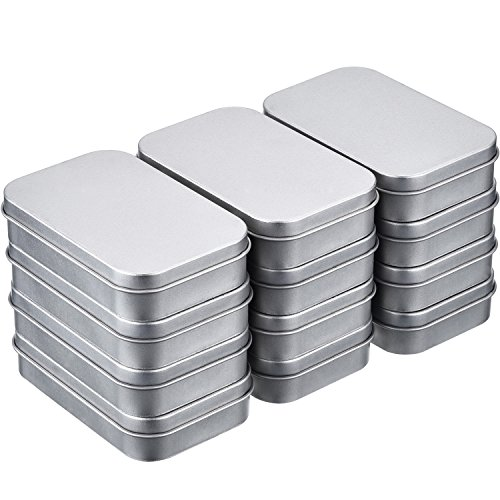 Hotop 12 Pack 3.75 by 2.45 by 0.8 Inch Silver Metal Rectangular Empty Hinged Tins Box Containers with Lids Mini Portable Box Small Storage Kit, Home Organizer