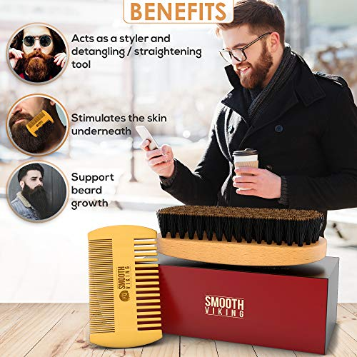 Beard Brush for Men - Facial Hair Comb for Mustache Conditioning Styling & Maintenance - With Boar...