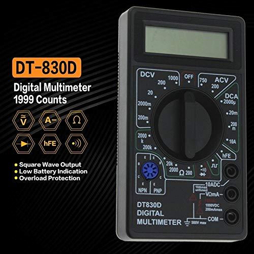 Mini bolsillo multímetro digital Multimetro transistor Tester Digital Mastech ESR MULTIMETRE metro de la abrazadera Medidor, Aneng (Color : Black)
