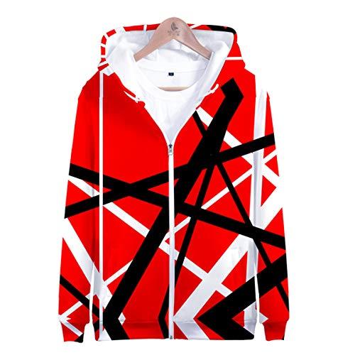 Sudadera con Capucha Y Cremallera para Hombre con Capucha Eddie Van Halen Sweater Abrigo De Suéter Cálido Sudadera De Manga Larga Tops De Jersey para Niñas Y Niños (Talla: Xxs-3Xl)