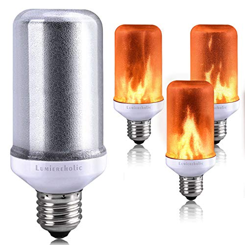Lumiereholic LED Flamme E27 Lampe Flackernde Licht Effekt Feuer Glühbirne Wandleuchte Außenleuchte Flackerlicht für Haus Garten Bar Party Hochzeit Restaurant Valentinstag Deko