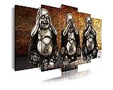 DekoArte 186 - Cuadros Modernos Impresión de Imagen Artística Digitalizada | Lienzo Decorativo Para Tu Salón o Dormitorio | Estilo Zen 3 Budas Ver Oír y Callar Fondo De Madera | 5 Piezas 200x100cm XXL