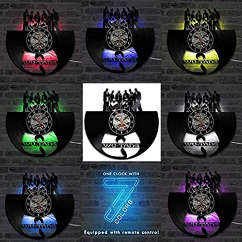 MNHI Reloj de Pared con Registro de Vinilo Diseño Moderno WU Tang Clan Hip-Hop Band Hot CD Record Reloj LED 7 Colores Reloj de Pared Regalo para fanáticos, B-7 Color LED