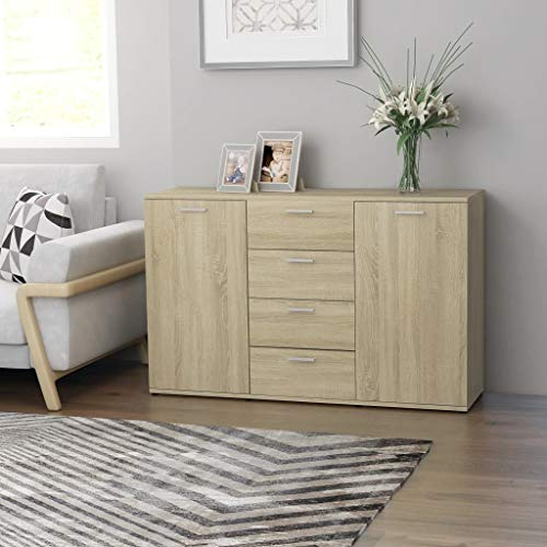 vidaXL Aparador Muebles de Cajones Almacenaje Buffet para Salón Comedor Dormitorio Casa Hogar Oficina de Aglomerado Roble Sonoma 120x35.5x75 cm
