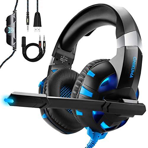 Cascos Gaming para Juegos PS4, Xbox One, PC y Nintendo Switch Sonido 7.1 Virtual [Bonitos y Cómodos] Bajo Ruido ONIKUMA Headset Gaming Auriculares de Diadema con Microfono 3.5mm Jack (Negro y Azul)