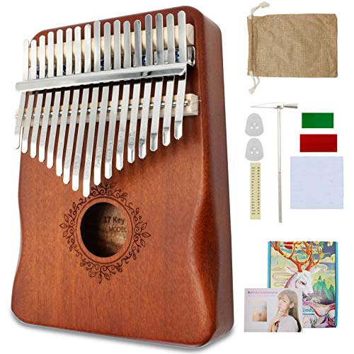 Kalimba Thumb Piano 17 Keys Finger Piano Portable Mbira Sanza Musical Instrument with Tune Hammer and Study Instruction Gift for Kids Adult Beginners Professional