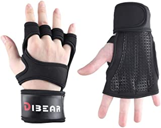 DIBEAR Ventilated Weight Lifting Gloves with Built-in Wrist Wraps, Full Palm Protection & Extra Grip. Great for Pull Ups, Cross Training, Fitness, Rowing & Weightlifting. Suit Men & Women