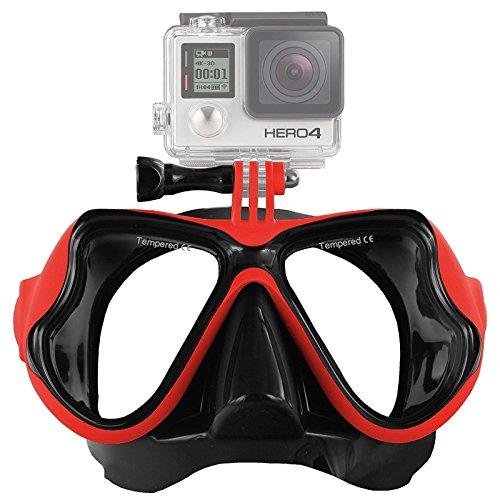 GoYisi QS-OG02 - Máscara de buceo para deportes acuáticos, gafas de natación para GoPro New Hero /HERO6/5/5 Session/4/3+, 3/2/1, Xiaoyi y otras cámaras de acción (negro) (color: rojo)